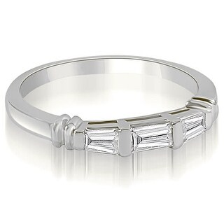0.25 CT.TW 3-Stone Bar Set Baguette Diamond Wedding Ring - White H-I (More options available)