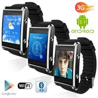 Indigi® 1.54-inch Bluetooth 4.2 Sync SmartWatch & Phone (3G Unlocked) w/  Notification Sync + Google Play Store
