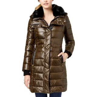French Connection Womens Puffer Coat Faux Fur Trim Bib