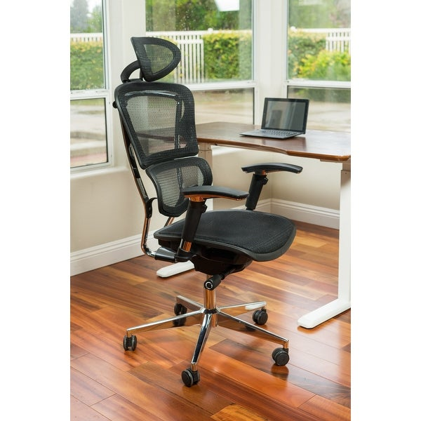 ErgoMax Ergonomic Adjustable Executive Office Chair w/ Headrest and Black Mesh - N/A. Opens flyout.