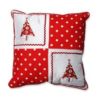 "16.5"" Red Holiday Pattern Christmas Tree Square Throw Pillow with Coordinating Trim - WHITE"