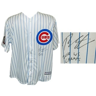 Theo Epstein Chicago Cubs White Pinstripe 2016 World Series Patch Majestic Replica Jersey w16 WS Ch
