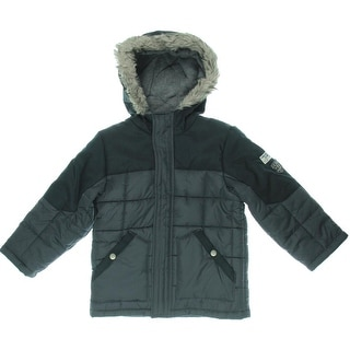 OshKosh B'Gosh Boys Hooded Faux Fur Trim Coat - M