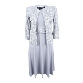 Jessica Howard Women's Petite Midi Dress and Embellished Lace-Print Jacket - grey combo