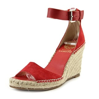 Vince Camuto Torian Women Open Toe Canvas Red Wedge Sandal