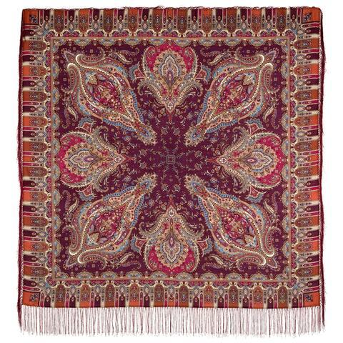 Russian Pavlovo Posad Crystal Dream Wool Scarf / Shawl W/Tassels (burgundy)