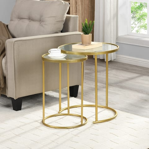FirsTime & Co.® Stark Gold Nesting End Table 2-Piece Set, American Crafted, Gold, Metal, 18 x 18 x 21 in - 18 x 18 x 21 in