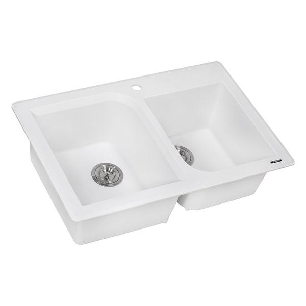 "Ruvati RVG1396 epiGranite 33"" Undermount Double Basin Granite Composite Kitchen Sink with Sound Dampening"