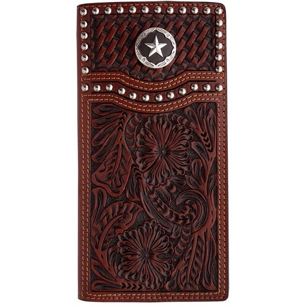 3D Western Wallet Men Leather Rodeo Basketweave Tan - One size