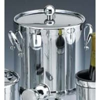 Kraftware 70093 Shiny Chrome 3 Quart Ice Bucket with Side Handles and Metal Cover