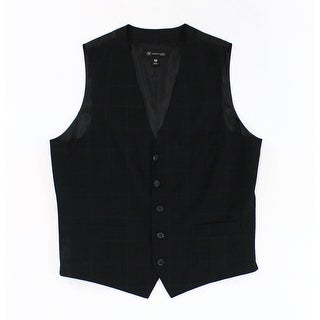 INC NEW Black Mens Size Large L Slim Fit Windowpane Check Grid Vest