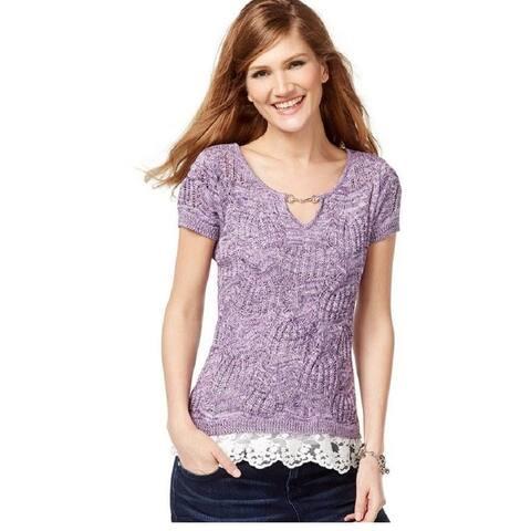 Inc International Concepts Womens Lace-Trim Keyhole Sweater, (Purple XS) - X-Small