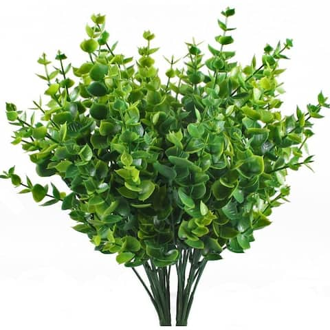 Enova Home 4 Pack Artificial Green Plant Eucalyptus Plastic Leaves Grass Bush for Home Table Office Outdoor Decoration