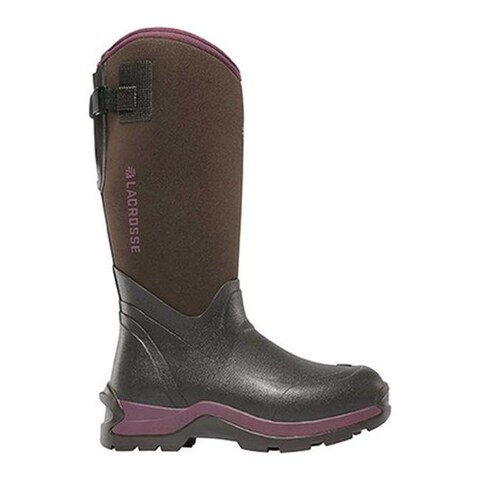 "LaCrosse Women's Alpha Thermal 14"" 7mm Boot Chocolate/Plum Rubber/Neoprene"