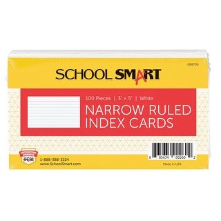 School Smart Ruled Index Cards, 3 x 5 Inches, White, Pack of 100