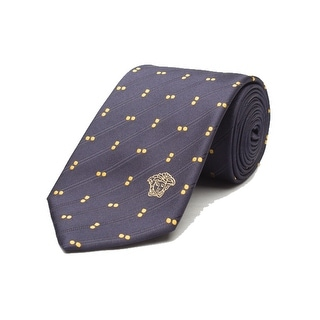 Versace Men's Medusa Logo Dotted Pattern Silk Neck Tie