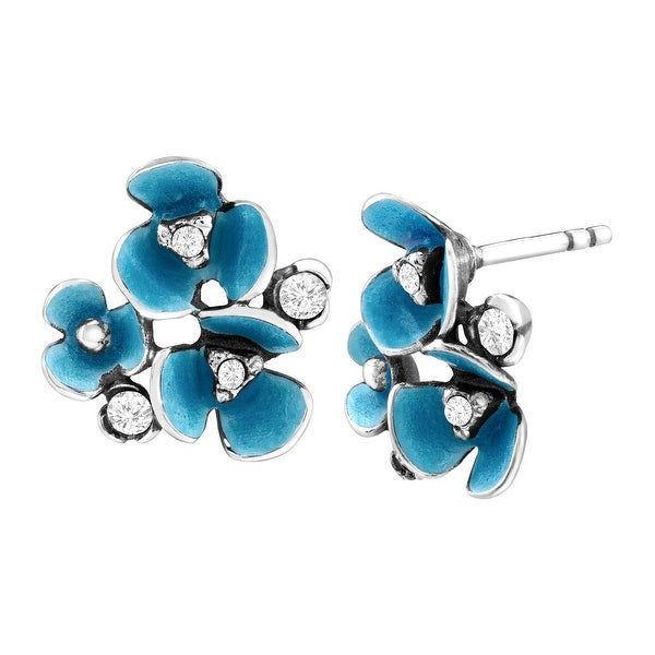 Van Kempen Art Deco Flower Stud Earrings with Swarovski Crystals in Sterling Silver - White