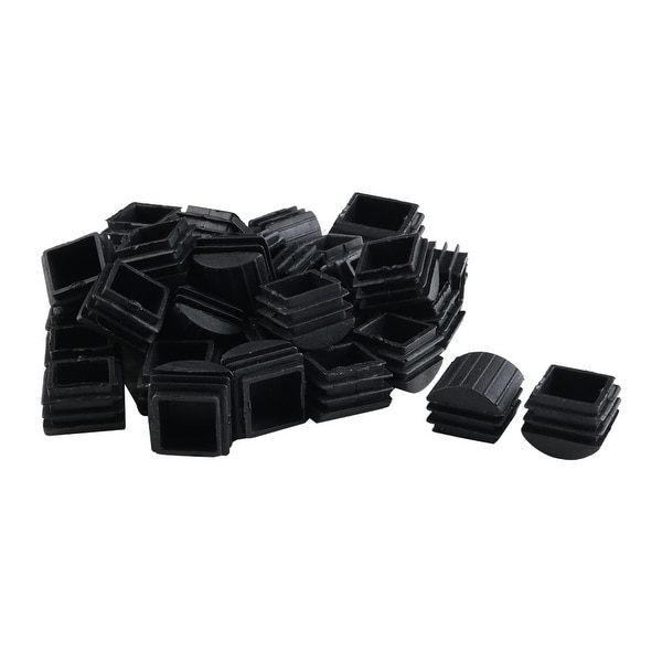 35pcs 25 x 25mm Plastic Domed Square Ribbed Tube Inserts End Cover Pad
