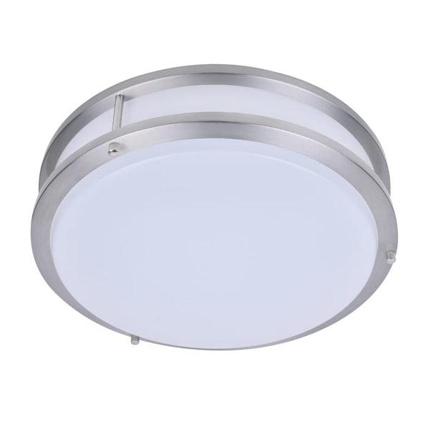 Plc Lighting 1114 Kirk Single Light 18 Wide Integrated Led Flush Mount Drum Ceiling Fixture