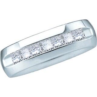 14kt White Gold Mens Natural Princess Diamond Band Wedding Anniversary Ring 1 & 1/2 Cttw