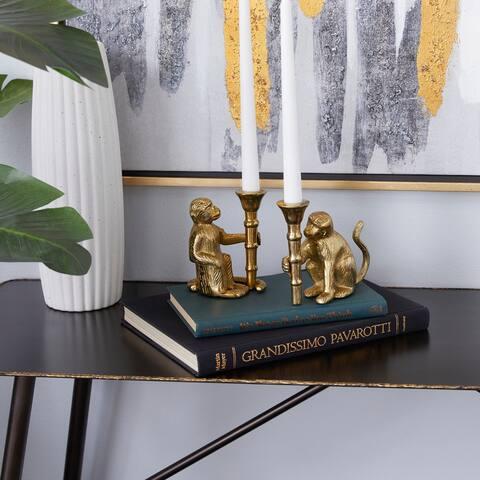 Gold Aluminum Glam Candle Holder (Set of 2) - 3 x 4 x 5
