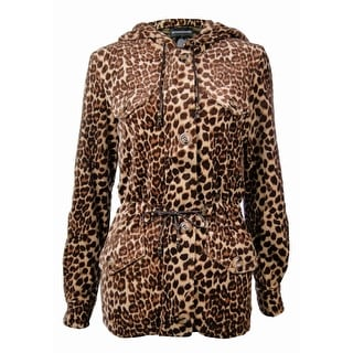 Sutton Studio Women's Fleece Leopard Anorak Jacket Misses