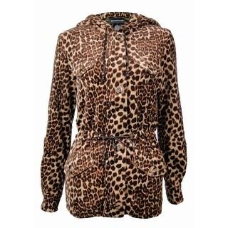 Sutton Studio Women's Fleece Leopard Anorak Jacket Misses - Brown-Multi