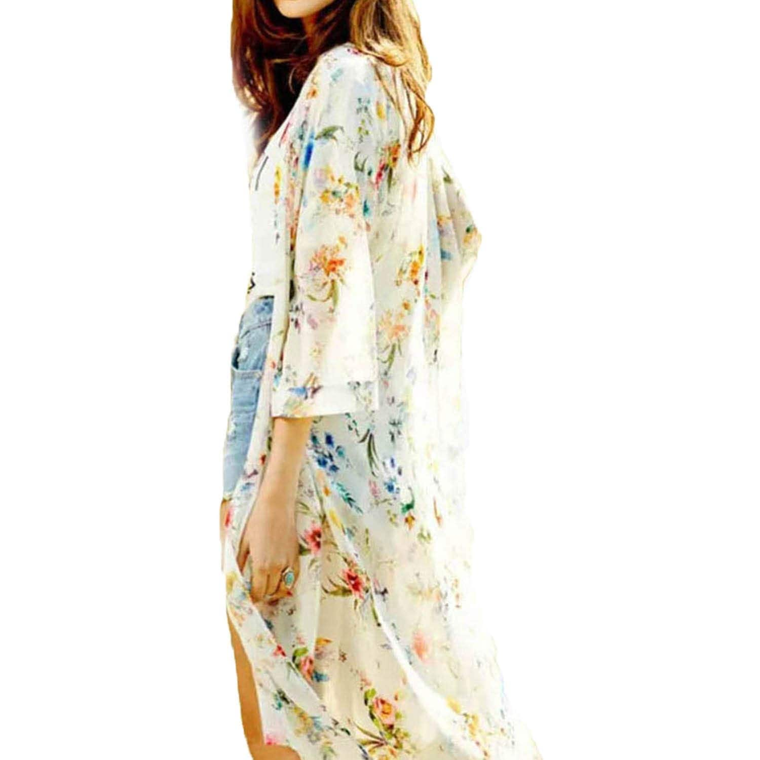 Business Casual Ships Free to USA Beach Wear Kimono Chiffon SUNRISE with Cherry Blossoms and Birds One Size Fits Most Cruise Wear