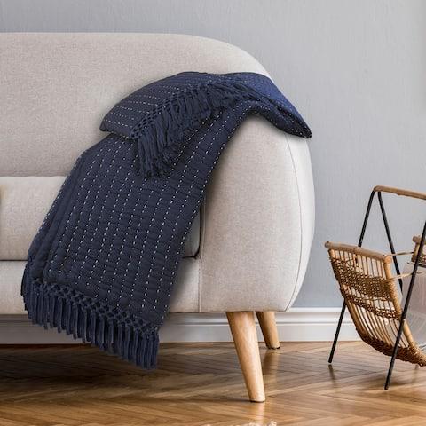 LR Home Starry Seas Cotton Throw Blanket