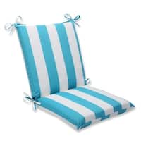 """36.5"""" Cabana Stripe White and Turquoise Outdoor Patio Square Chair Cushion"""