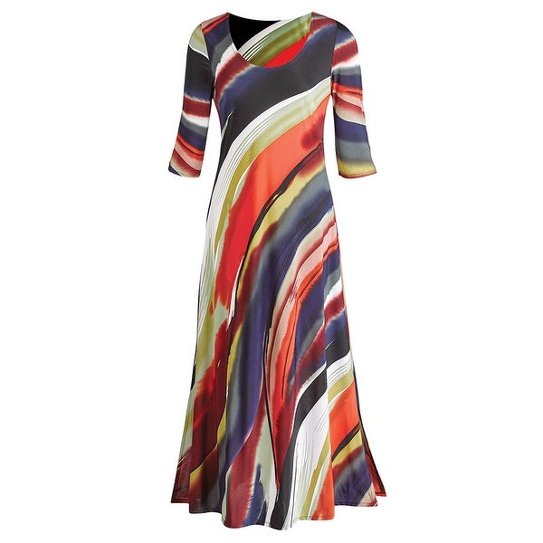 Women's Maxi Dress - Canyon Sunset - 3/4-Sleeve - Ankle Length