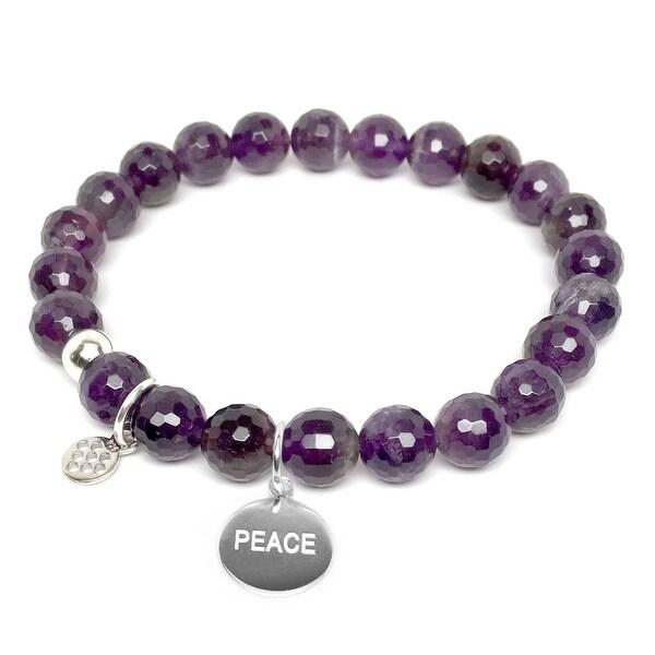 """Purple Amethyst Peace Silver Charm Lucy 7"""" Bracelet"""