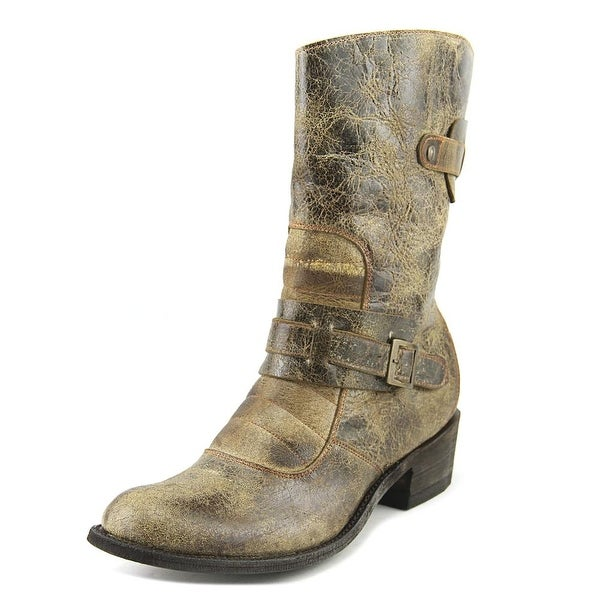 Five Worlds by Cordani Sonia Women Round Toe Leather Bronze Mid Calf Boot