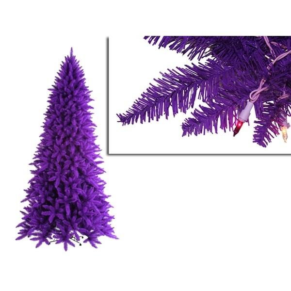 14' Pre-Lit Slim Purple Ashley Spruce Christmas Tree - Clear & Purple Lights
