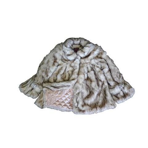 Little Girls Crystal Fox Faux Fur Coat 1T-6