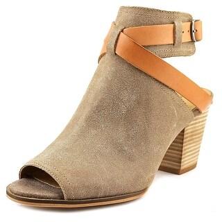 Lucky Brand Harum Women Peep-Toe Leather Brown Slingback Sandal