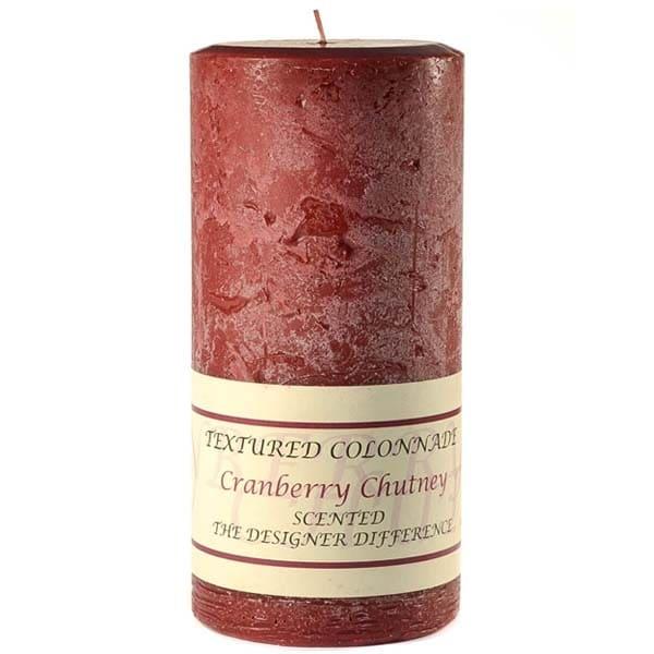 3 Pcs, Textured 3x6 Cranberry Chutney Pillar Candles 3 in. diameterx6.25 in. tall
