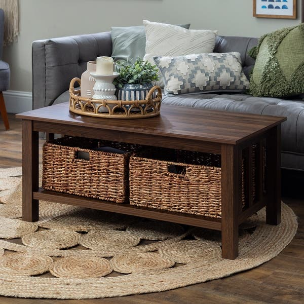 Shop 40 Inch Coffee Table With Wicker Storage Baskets Overstock 19267288