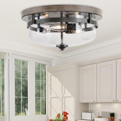 """Modern 3-light Glass Full Flush Mount Ceiling Lights - W 13.5""""x H 6.5"""""""