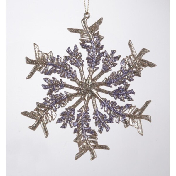 "5.5"" Victorian Plum Gold and Purple Leaf Snowfake Christmas Ornament"
