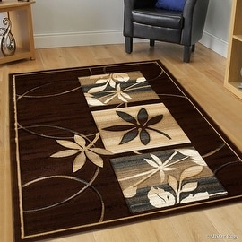 "Allstar Brown Flowers Floral Design Modern Geometric Area Rug (5' 2"" x 7' 2"")"