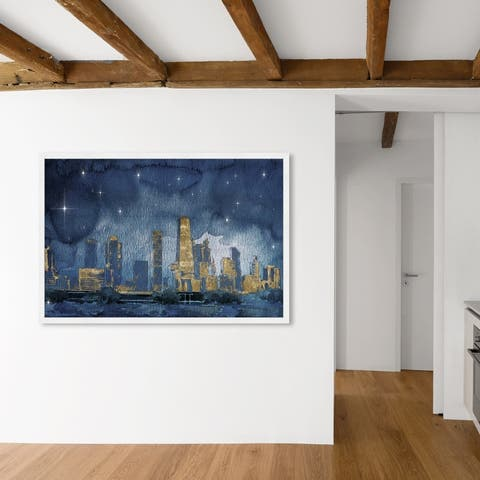Oliver Gal 'Chicago Nighttime' Cities and Skylines Wall Art Framed Print United States Cities - Blue, Gold