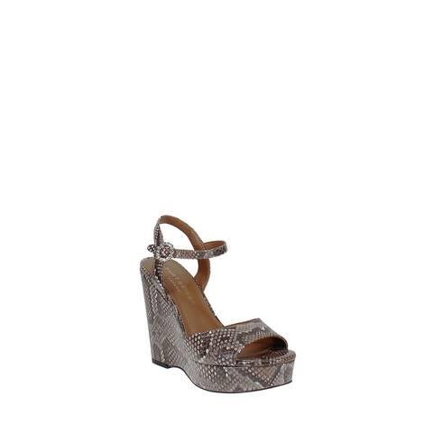 Kurt Geiger Snake-Embossed Wedge Platform Sandals Snake Print