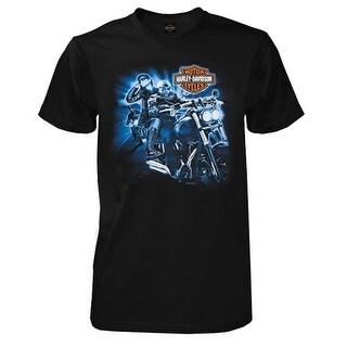 Harley-Davidson Men's Ride Along Short Sleeve Crew Neck Shirt, Solid Black