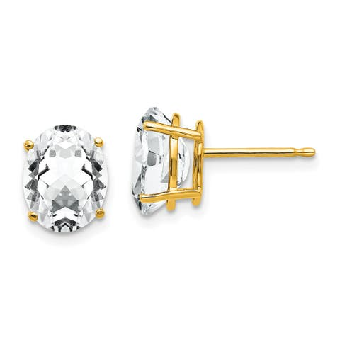 14K Yellow Gold 9x7mm Oval Cubic Zirconia Earrings By Versil