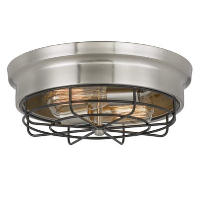"Bethpage 2-Light Brushed Nickel Canopy w/Wire Frame Flush Mount 4.5""H - Medium"