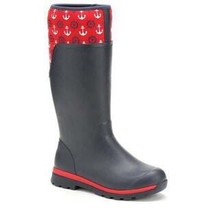 Muck Boot Women's Cambridge Tall Navy/Red Anchors Size 10 Premium Rain Boots