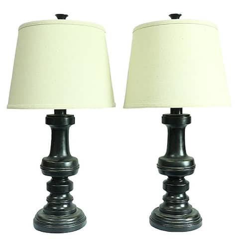 Set of 2 Lafayette Table Lamps, Distressed Black Finish, 24 inch Tall