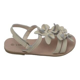 L'Amour Girls Cream Flower Blossom Accent Strap Sandals 7-10 Toddler