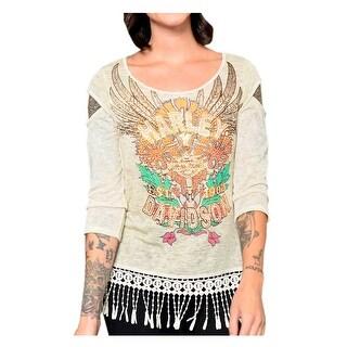 Harley-Davidson Women's Floral Americana Embellished Fringed 3/4 Sleeve Top